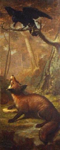 The Fox and the Crow (Aesop) . Léon Rousseau's painted panel of the fable, Musée Jean de La Fontaine.