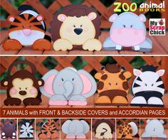 """My Scrap Chick Zoo Animal Books: look up under """"Zoo Animal Books"""" or specific animal such as """"tiger animal book"""" - - Paper Piecing Patterns, Quilt Block Patterns, Foam Crafts, Paper Crafts, Card Tags, Cards, Egg Carton Crafts, Safari Birthday Party, Pet Tiger"""