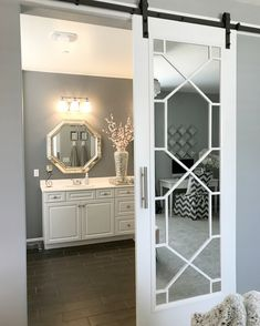 Sharing the process we took in creating our DIY glam barn door. This is the perfect way to create your own customized barn door without spending thousands. Glam Living Room, Living Room Decor, Bedroom Decor, Barn Door Designs, Diy Barn Door, Barn Doors, Sliding Doors, Home Remodeling Diy, Bathroom Inspiration