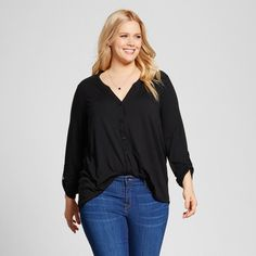 Women's Plus Size Mixed Media Popover