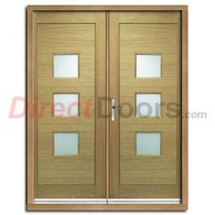 Turin External Oak Double Door and Frame Set with Obscure Safety Double Glazing.  #doublefrontdoors