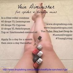 DIY Skin Care Tips :  Young Living Lemongrass Essential Oil & V-6 Massage Oil for Varicose Veins. Mix