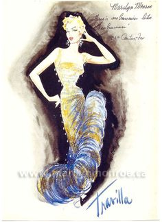"William Travilla sketch for Marilyn Monroe in ""Theres no business like show business"" 1954"