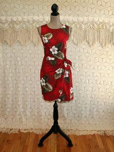 90s Red Hawaiian Dress Sleeveless Midi Sarong Cotton Summer