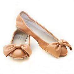Anniel leather bow ballerina flats