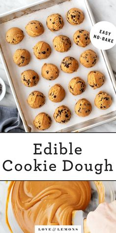Raise your hand if you like cookie dough more than actual cookies. This edible cookie dough recipe is just what you need! Made with almond flour, coconut oil, peanut butter, and chocolate chips, it's vegan, gluten-free, and totally safe to eat. | Love and Lemons #cookiedough #cookies #desserts #vegan #glutenfree Vegan Cookie Dough, Cookie Dough Recipes, Edible Cookie Dough, Chocolate Chip Cookie Dough, Mini Chocolate Chips, Vegan Desserts, Dessert Recipes, Edible Cookies, Baking Cookies