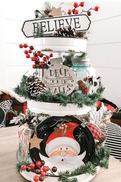 Are You In Need Of Farmhouse Christmas Tiered Tray Inspiration? - Dogs N Decor Dollar Tree Christmas, Cozy Christmas, Christmas Signs, Christmas Projects, Beautiful Christmas, Christmas Themes, Christmas Holidays, Santa Decorations, Holiday Centerpieces