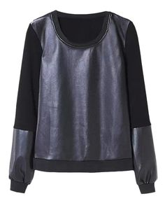 Leather-seamed Long-sleeved Black T-shirt