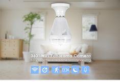 Wi-Fi Light Bulb Home Security Camera 360 Degree Wireless Security Cameras, Security Surveillance, Security Alarm, Home Security Tips, Security Cameras For Home, Home Security Systems, Panorama Camera, Camera Cover, Spy Camera