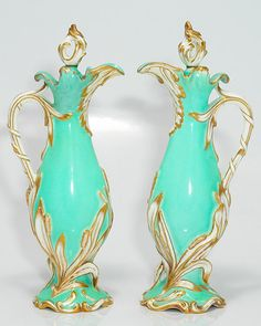 Pair of Coalport turquoise ewers, c.1835