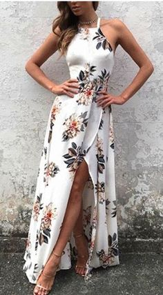 summer outfits Sleeveless Side Split Back Lace-up Random Floral Print Maxi Dress