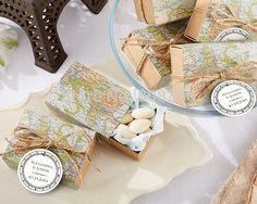 """Aliexpress.com: Compre 100 pçs/lote """" em todo o mundo """" caixa de Favor para decoração de viagem mapa caixa de Kraft Favor de partido caixa de doces de confiança caixa de roupas fornecedores em Top Wedding Supplier-Free Shipping"""