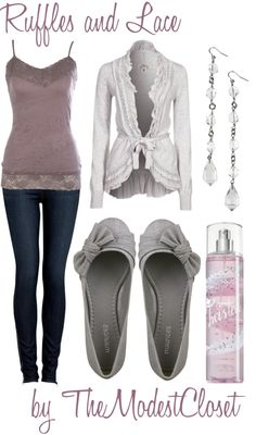 """Ruffles and Lace"" by themodestcloset ❤ liked on Polyvore"