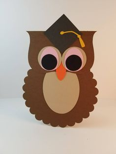 Graduation Card - Owl Graduation Card - Congratulations Card - Happy Graduation Card - Handmade Card - Graduation Gift Card - Greeting Card by OlingerOriginals on Etsy College Graduation Cards Handmade, Graduation Gifts, Owl Crafts, Paper Crafts, Paper Punch Art, Owl Card, Cap Decorations, Preschool Projects, Shaped Cards