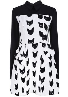 Black White Long Sleeve Cats Print Ruffle Dress