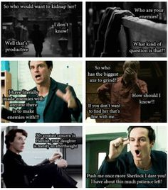 BBC Sherlock Holmes / John Watson / Jim Moriarty / Johnlock / Parentlock / Moriarty as a dad is hilarious to me. Sweet, but hilarious. Also, RPers are wonderful people.
