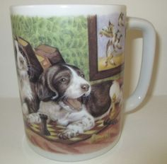 Collectors cup from Otagiri Mug Marilee Carroll design of hunting dog pups and chess pieces. Great mug art for cabin, lodge or your own kitchen!
