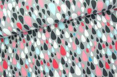 Stretch-Jersey Dancing in the Rain DROPS  95 % Bio-Baumwolle, 5 % Elasthan  Bio-Stoff mit GOTS-Zertifikat  Breite: 150 cm  Design: Pamela H...