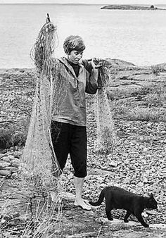 """""""The cat came in, sat down, and stared at them.  'Fish,' said Mari. 'We ought to take in the net.'"""" Quote from """"Fair Play"""" by Tove Jansson, Published in the UK by Sort of Books (www.sortof.co.uk/books/fair-play/), and in the US by NYRB Classics (www.nybooks.com/books/imprints/classics/fair-play/)"""
