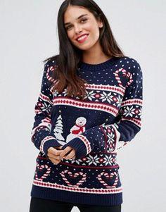 Nouveau Femme Nouveauté 2 Pudding De Noël Hiver Pull Tops 8-26