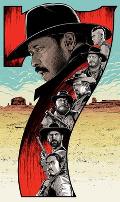 The Magnificent Seven Poster - Created by Cristiano Siqueira -Watch Free Latest Movies Online on Best Movie Posters, Cinema Posters, Movie Poster Art, Cool Posters, Magnificent Seven Movie, Alternative Movie Posters, Western Movies, Norman Rockwell, Film Serie