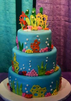 Under the Sea themed birthday cake - all fondant.