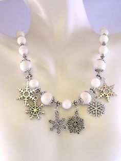 Snowflake Charm Necklace, Snowflake Necklace, Stone Bead Necklace, Holiday Necklace