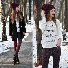Zara Hat, Coat, Wildfox Sweat, Topshop Pants, Boots, Bershka Bag (by Karina P.)   LOOKBOOK.nu