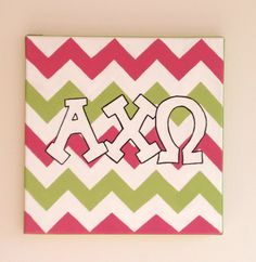 hand painted alpha chi omega letters outline with chevron background 12x12 canvas official licensed product