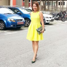 Fashion Trends. Yellow dress brightens up the day - instagram.com/christyc