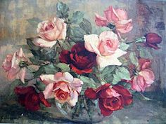 Roses painting hangs in my cottage