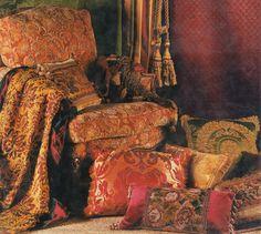 A decadent array of vintage textiles is a must! ~Splendor