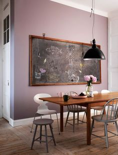 i don't like the paint color on the wall, but i like the idea of having a chalkboard INSTEAD of painting the wall chalkboard . . . hmmm