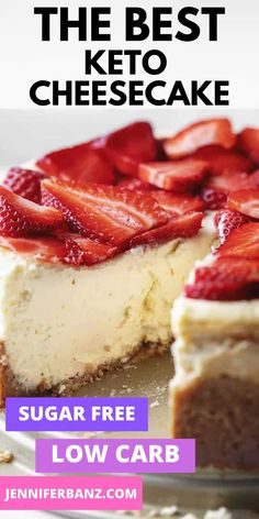 """This really is the best low carb and keto cheesecake recipe. Even my non-keto family proclaimed """"This is the best cheesecake I have ever had! Sugar Free Cheesecake, Best Cheesecake, Cheesecake Recipes, Dessert Recipes, Best Low Carb Cheesecake Recipe, Birthday Cheesecake, Healthy Low Carb Recipes, Low Carb Dinner Recipes, Diet Recipes"""