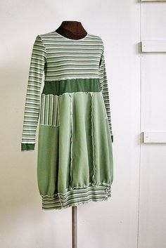 Started with a striped tee, added two plain fabrics. wasabi babydoll dress
