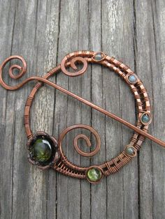 Laconic Floral Penanaular Pin  Wire Wrapped Shawl Pin  by Lirimaer, $27.00