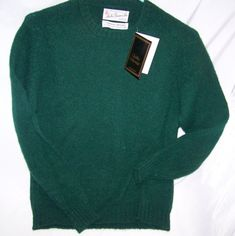 Archie Brown Bermuda Green Shetland Wool Sweater M Scotland Vintage with tag #ArchieBrownSons #Crewneck