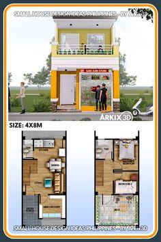 2 Storey House Design, Bungalow House Design, House Front Design, Small House Design, House Plans 2 Storey, Model House Plan, Small House Plans, House Floor Plans, Small House Exteriors