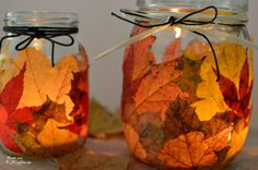 de // Herbst Windlicht - Fashion and Recipes Diy Gifts To Sell, Crafts To Sell, Diy And Crafts, Crafts For Teens, Diy For Kids, Halloween Arts And Crafts, Decorating Bookshelves, Jar Lanterns, Creation Deco