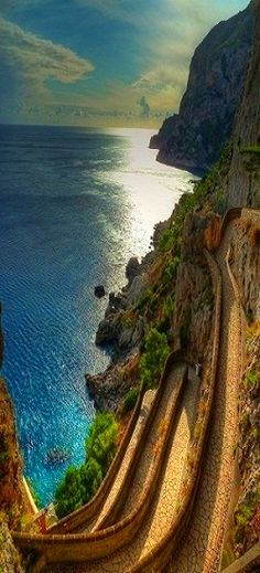 Via Krupp - Capri , Italy. You can walk down to the beach this way!! It could be a long return trip!!