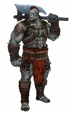 m Half Orc Barbarian Battle Axe lg Orc Warrior, Fantasy Warrior, Fantasy Rpg, Medieval Fantasy, Dungeons And Dragons Characters, Dnd Characters, Fantasy Characters, Barbarian Dnd, Half Orc Barbarian
