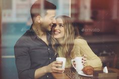 Couple in love drinking coffee in coffee shop by arthurhidden. Couple in love drinking coffee and have fun in coffee shop. Vintage effect style picture Couple Photoshoot Poses, Wedding Couple Poses, Couple Photography Poses, Pre Wedding Photoshoot, Couple Shoot, Engagement Couple, Coffee Engagement Photos, Engagement Pictures, Coffee Shop Photography