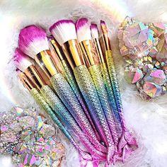 Professional Mermaid Makeup Brush Set 15 pcs - Make up 2 - Make Up Kits, Kids Makeup, Cute Makeup, Teen Makeup, Makeup Geek, Crazy Makeup, Perfect Makeup, Makeup Art, Makeup Ideas