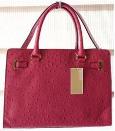 Michael Kors Large Hamilton Ostrich Leather Pink Handbag