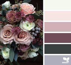 Pinks, cream, grey, black