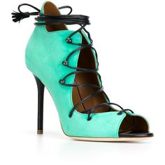 Malone Souliers Savannah Sandals ($607) ❤ liked on Polyvore featuring shoes, sandals, real leather shoes, aqua sandals, leather shoes, aqua shoes and leather footwear
