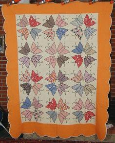 30's Butterfly Appliqué Antique Orange quilt $495