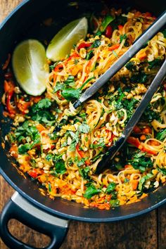 Rainbow Vegetarian Pad Thai with a simple five ingredient Pad Thai sauce - adaptable to any veggies you have on hand! So easy and delicious!   pinchofyum.com