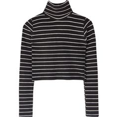 Striped Turtleneck Crop Top (225 SEK) ❤ liked on Polyvore featuring tops, shirts, sweaters, crop top, long-sleeve shirt, striped crop tops, fold long sleeve shirt, sexy long sleeve shirts and turtleneck crop tops