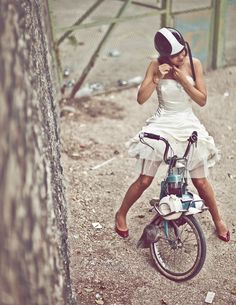 veloisto: Ride on. model & art direction : Aurore Ines Demeure The dress is an original creation of Aurore Ines Demeure Photography by Laurent Nivalle